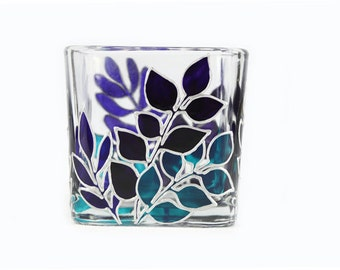 Hand Painted Glass Candle Holder Tea light candle holder hand painted glass stained glass  Blue purple turquoise leaves home decor