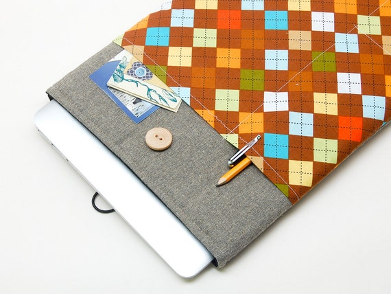 """ONLY 1 AVAILABLE -50% OFF! MacBook Air 13"""" sleeve. Linen MacBook Air 13 case. MacBook Pro 13 Retina. MacBook Air cover. Retro print cover"""