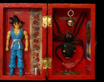 Japanese Spider Chicken, Hand-made icon box with found treasures.