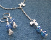 SET - Silver Lariat Pendant with Blue Czech Luster Beads - Matching Earrings