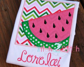 "Watermelon Box applique design for machine embroidery Size(s) 2.5""(doll shirt size), 4x4, 5x5, & 6x6 INSTANT DOWNLOAD now available"
