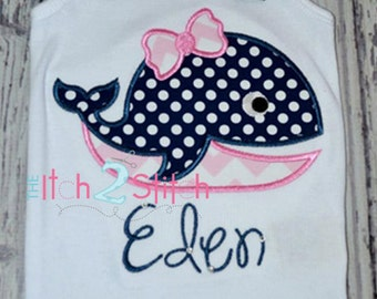 Girly Whale Applique Design (Font NOT included) 4x4, 5x7, and 6x10  INSTANT DOWNLOAD now available