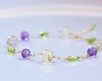Golden Rutilated Quartz, Purple Amethyst, Green Peridot Bracelet 14k Gold Filled - February August Birthstone, Wire Wrapped, Adjustable