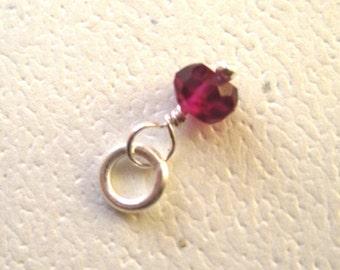 Faceted Rhodonite Garnet Gemstone Dangle Charm