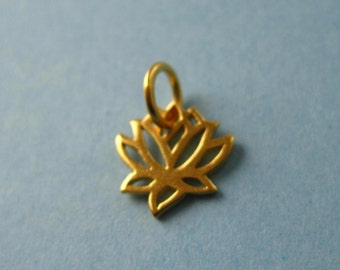 Gold Plated  Bronze Openwork Small Lotus Flower Charm