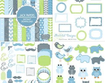 Digital Scrapbook Baby Boy Kit Scrapbooking Paper Digital Frame Clip Art  92 Items Jack