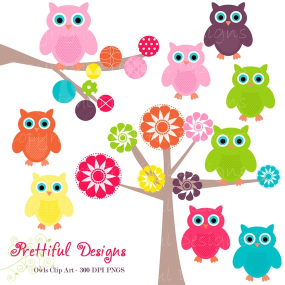 Owl Rainbow Colored Clip Art for Digital Scrapbooking - Girly Rainbow