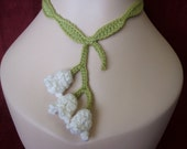 Lily of the valley crochet necklace.