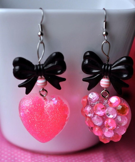Candy Glam Kawaii Kitsch Pink Glitter Resin Hearts Black Bows Pink Diamond Dangle Earrings