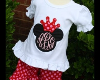 Girlie Mouse Princess Monogrammed Tee and shorts outfit gigi babies