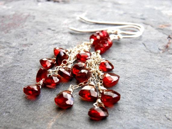 Tiny Garnet Earrings, Red Cascade Dangling Delicate Chain Earrings, Sterling Silver