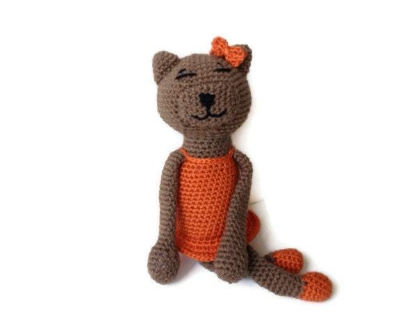 Brown Crochet Amigurumi Tabby Cat with Orange Dress