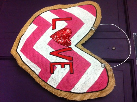 LOVE Heart Burlap Door Hanger