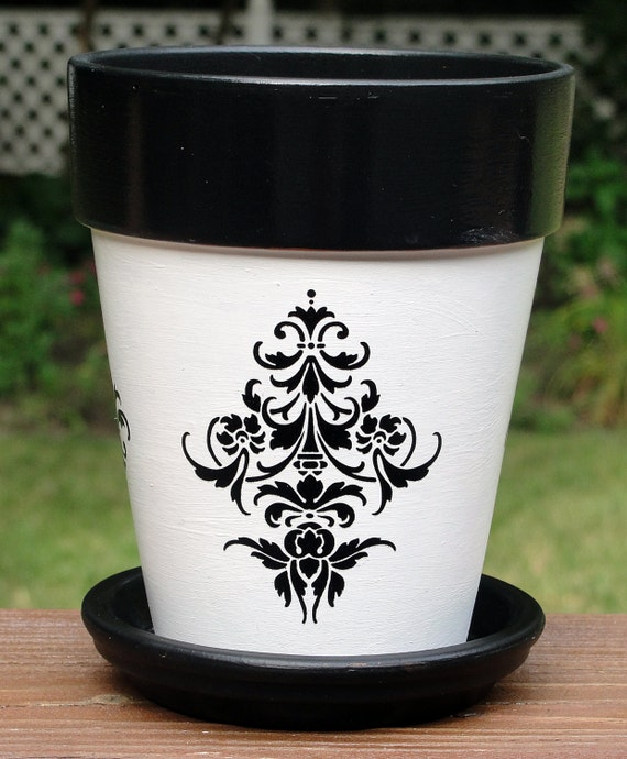 Fleur de Lis Flower Pot by EllensClayCreations on Etsy