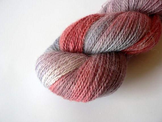 Handpainted Sock Weight Alpaca Merino Yarn-  Pastel Berry 477yards