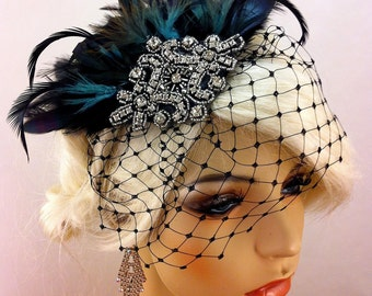 Great Gatsby, Downton Abbey, 1920s Flapper Headpiece, Gatsby Headpiece, Feather Fascinator, Rhinestone Silver Beaded Art Deco, Color Choice