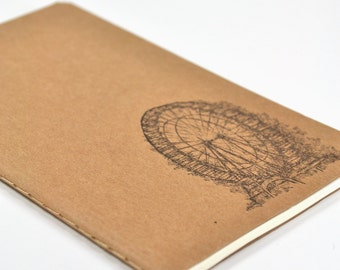 Ferris Wheel Kraft Brown Pocket Moleskine Cahier Notebook Hand Stamped