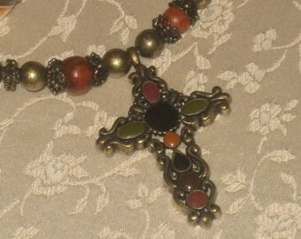 Antique Gold Cross, Colored Glass Stones, Unique, Beaded