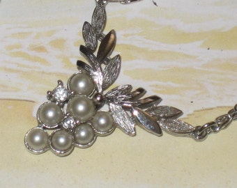 """Vintage """"Avon"""" Pearl Cluster Necklace, Silver"""