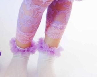 Baby Socks Toddler Socks Girls Socks with Soft Chiffon Ruffle Choose Your Color