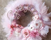 The Gracynn Wreath - Vintage Style Shabby Chic Tutu Tulle Wreath- Pink and Neutrals with varied pearl accents -lace- feathers