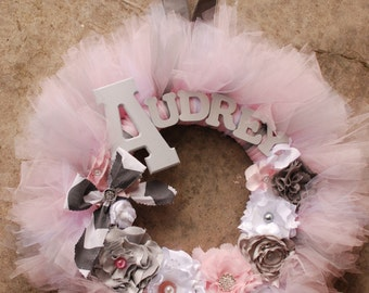The Audrey Wreath- Modern  Vintage Style Shabby Chic Tutu Tulle Wreath- Pink and Gray with Block letters