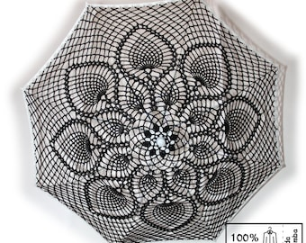 """30""""  BLACK w/ WHITE Border Lace Crochet UMBRELLA Parasol, Steampunk, Gothic, Victorian, Mothers Day Wedding- Made to order"""