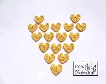 10  Little Tiny Crochet HEARTS in YELLOW Colors Appliques great for Decorations, Ornaments, Embellishments, Scrap Booking - Summer