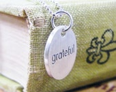 grateful round word tag sterling silver necklace matte finish