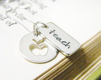 teacher apple cutout and hand stamped word tag teach sterling silver necklace