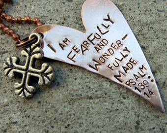 Bible Verse Necklace Psalm 139:14 - Hand Stamped -Made to Order-