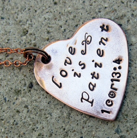 "Love is Patient 1 Cor 13:4 - 1"" Copper Heart necklace -Made to order-"