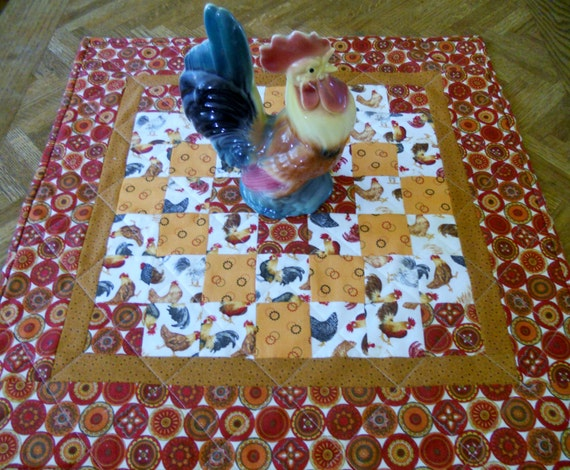 Primitive Farmhouse Rooster Quilted Table Topper Scrappy Patchwork Table Runner