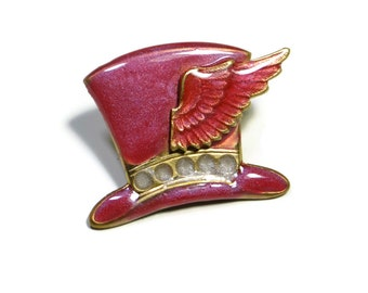 Steampunk Top Hat Brooch Pin in Pink with Wing Hand Made Enamel by Dr Brassy Steampunk