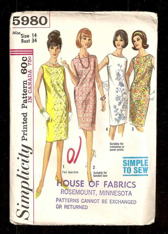 Vintage Simplicity 5980 Sleeveless Shift Dress UNCUT Pattern - photo#41
