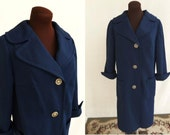 Vintage 70s Coat Navy Blue Textured Double Knit Polyester Lightweight Nautical Size L