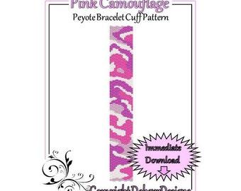 Bead Pattern Peyote(Bracelet Cuff)-Pink Camouflage