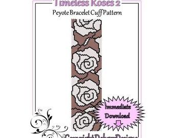 Bead Pattern Peyote(Bracelet Cuff)-Timeless Roses 2
