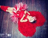Red and White Christmas Tutu with Ribbon Streamers...Candy Cane Tutu, Peppermint Tutu, Red and White Birthday Tutu . . . PEPPERMINT PIXIE