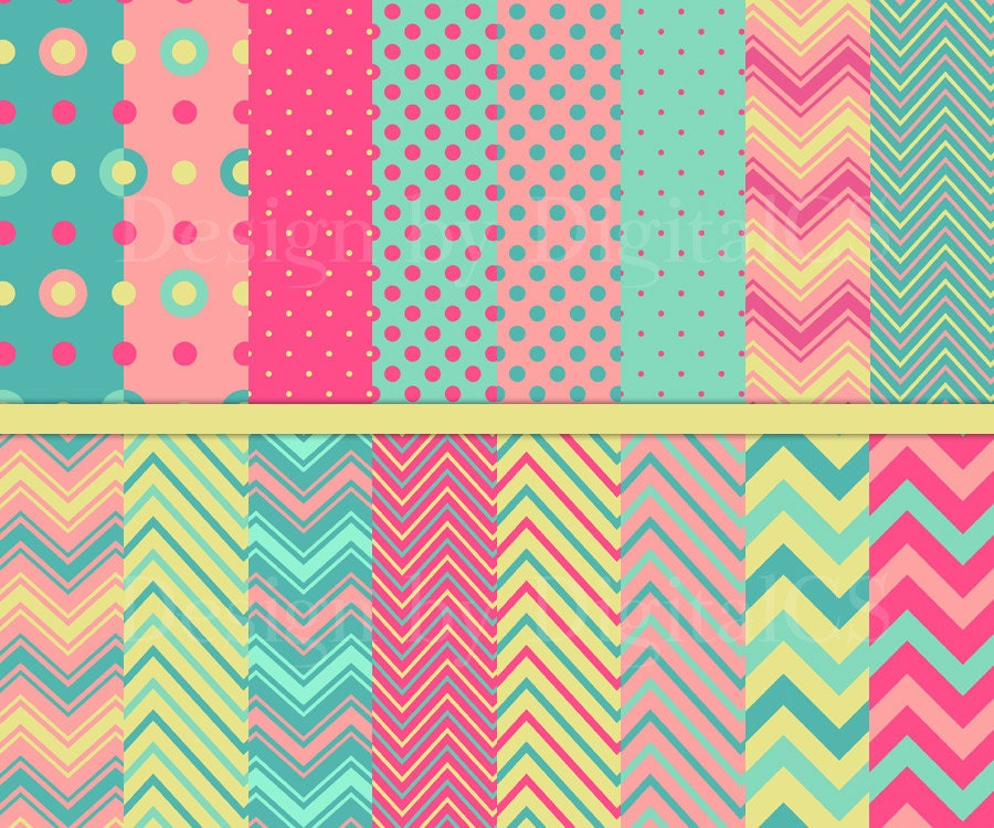 Neon Pink Chevron Wallpaper Digital paper chevron pink