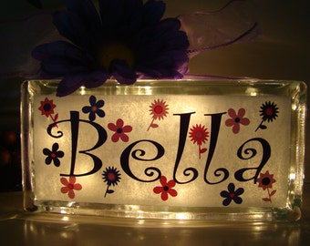Personalized Girls Glass Block Night Light with Flowers - Vinyl Lettering