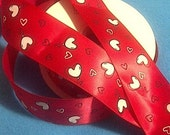 "Hearts Balloons on Red Satin Ribbon /1.5""(38 mm )width /Head band/DIY Head Bow/ Wedding Supplies /Bouquet Ribbon"
