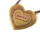 Triple Heart Necklace Pendant Rustic Mixed Metal Copper Brass Word Stamp Grace Inspirational Riveted Cold Connected