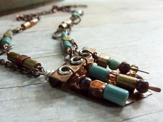 Hammered Copper Necklace Folded Rivet Turquoise Gold Bronze Southwestern
