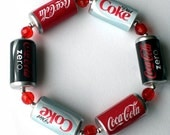 Coca Cola Bracelet with Red Glass Crystals