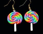 Rainbow Lolly Hanging Kawaii Earrings