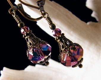 Purple Jeannie Bottle Victorian Earrings, Amethyst Crystal Steampunk Edwardian Drops Antiqued Gold Brass Filigree Titanic Temptation Jewelry