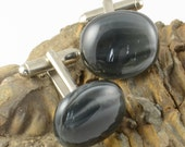 Mr Grey cufflinks grey stripe fused glass uk seller - wedding accessories fathers day