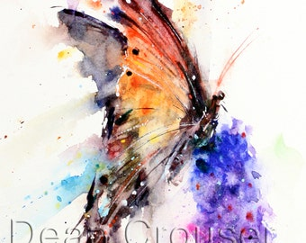 BUTTERFLY & FLOWER Watercolor Print by Dean Crouser