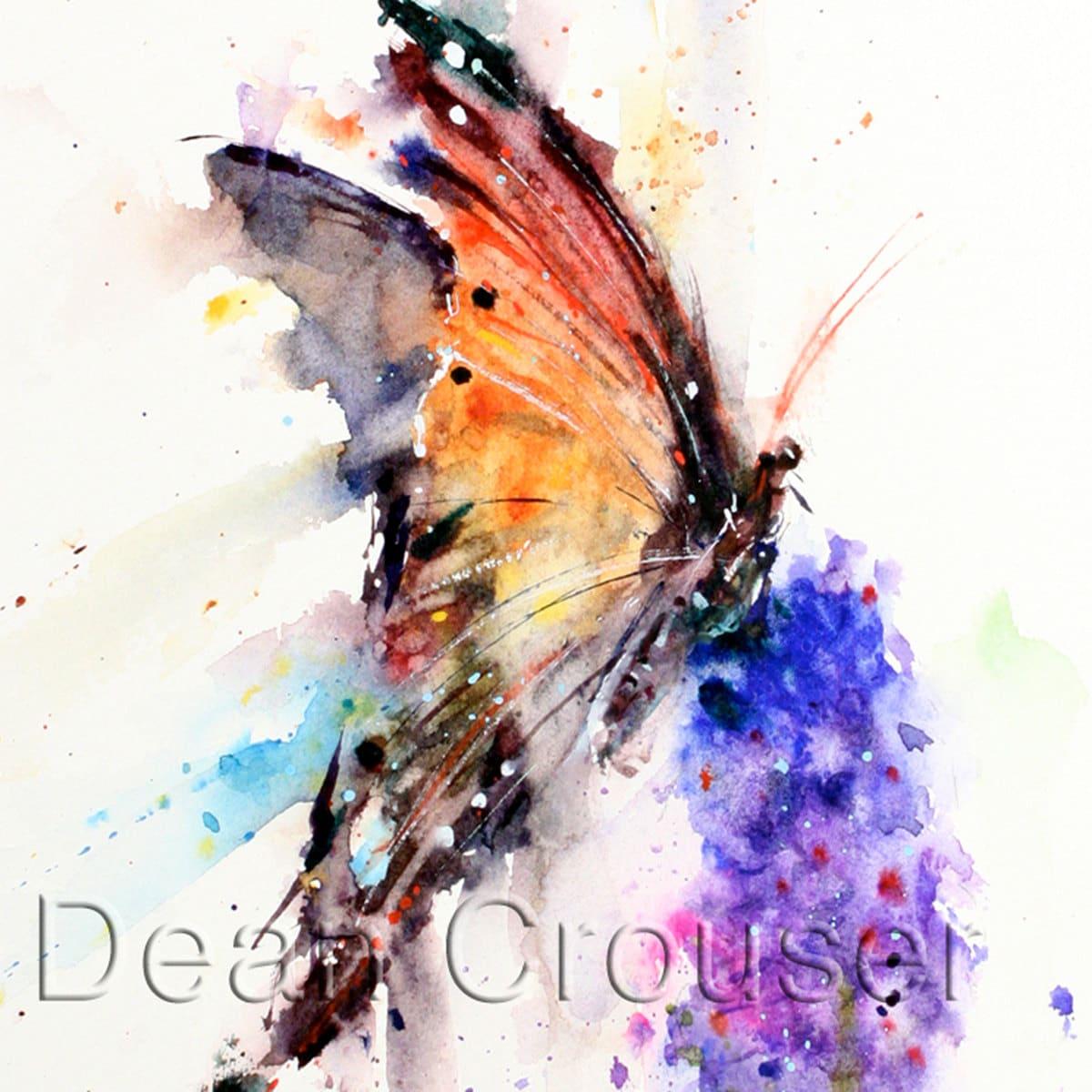BUTTERFLY & FLOWER Watercolor Print by Dean Crouser - photo#46